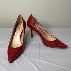 GUESS red alligator faux leather pointy toe heels